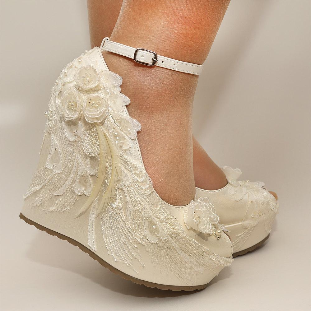 ivory wedding wedges shoes photo - 1