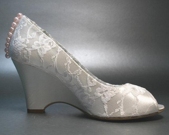 ivory wedge wedding shoes photo - 1