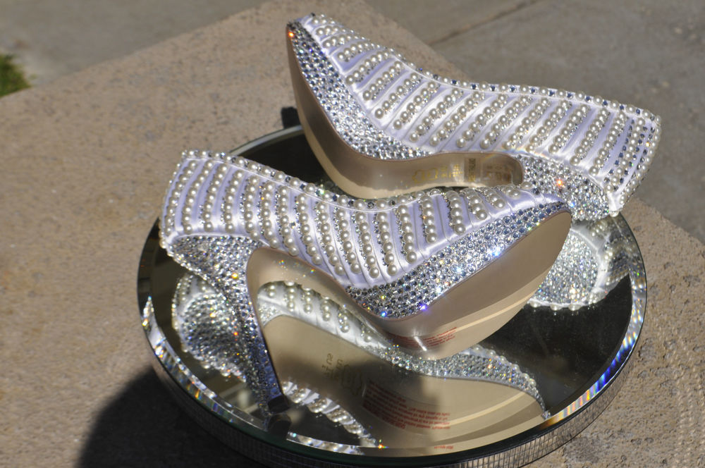 lace and pearl wedding shoes photo - 1