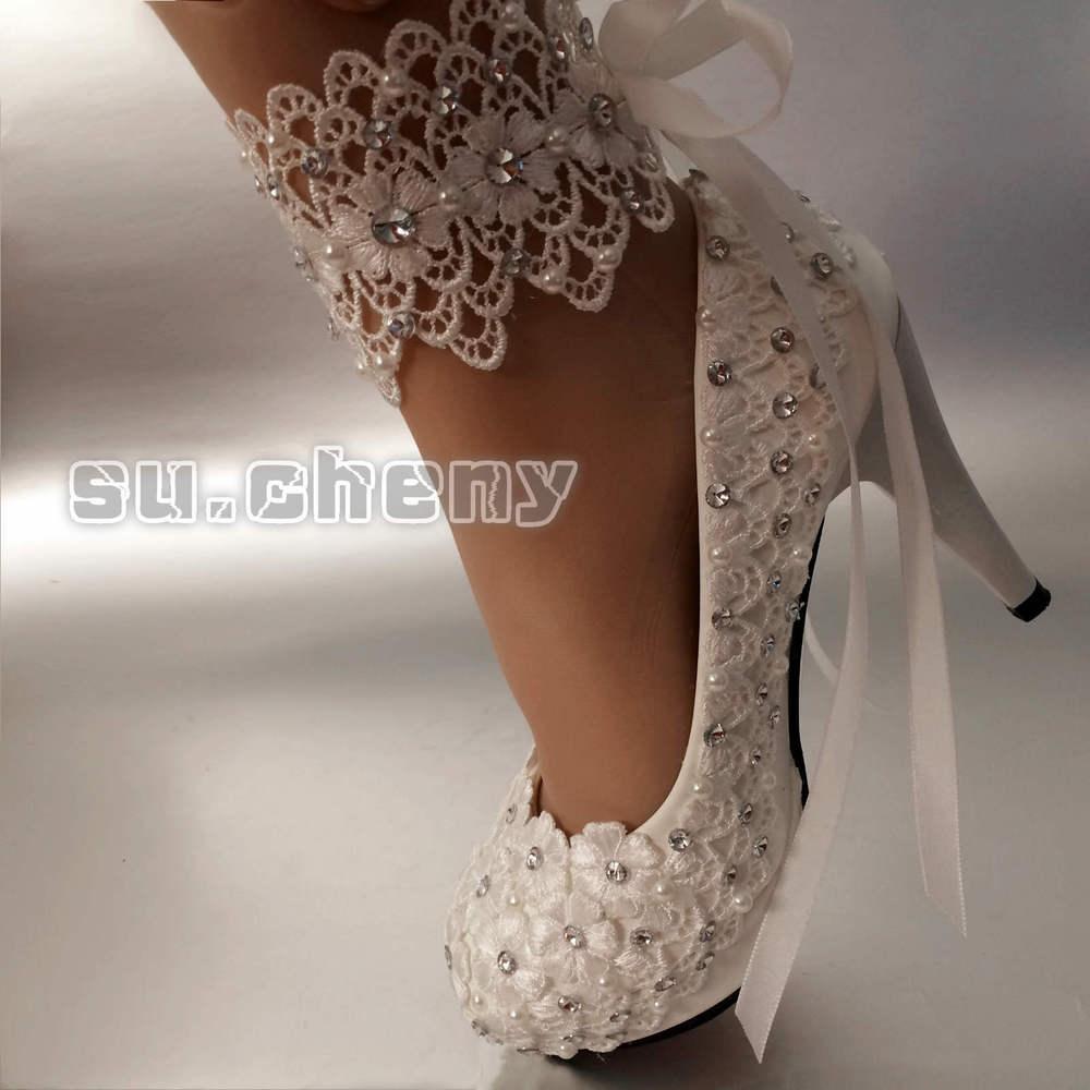 lace bridal shoes low heel photo - 1