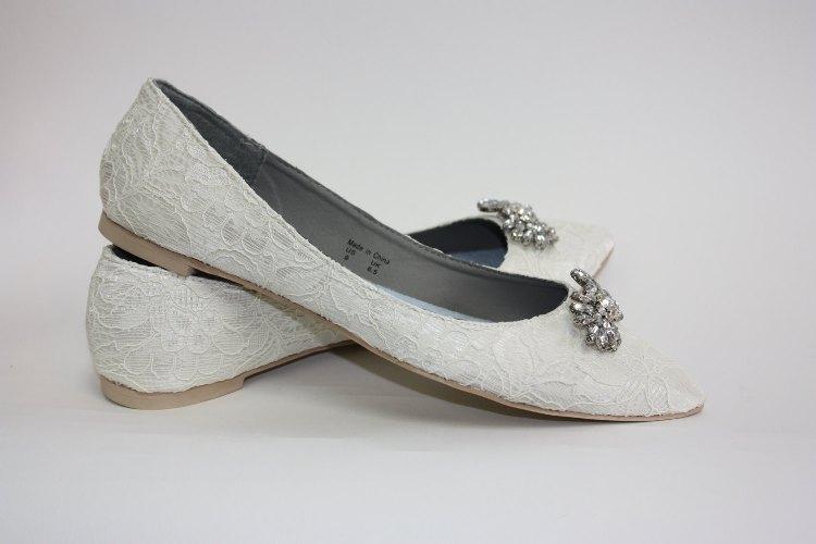 lace peep toe wedding shoes photo - 1