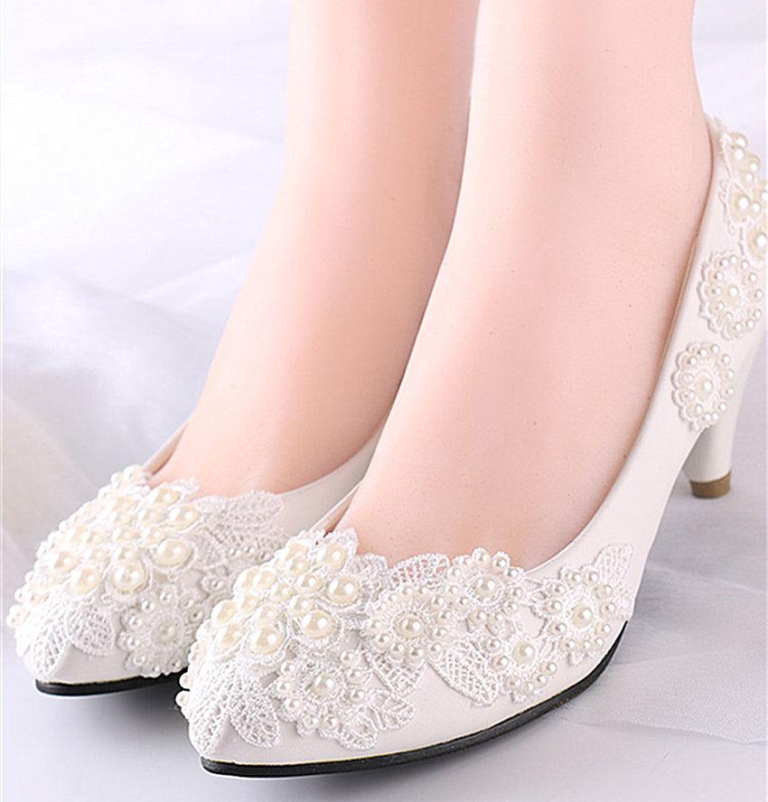 lace wedge wedding shoes photo - 1