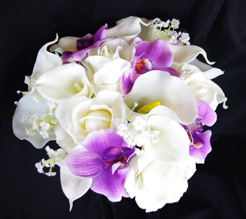 lily and rose wedding bouquets photo - 1