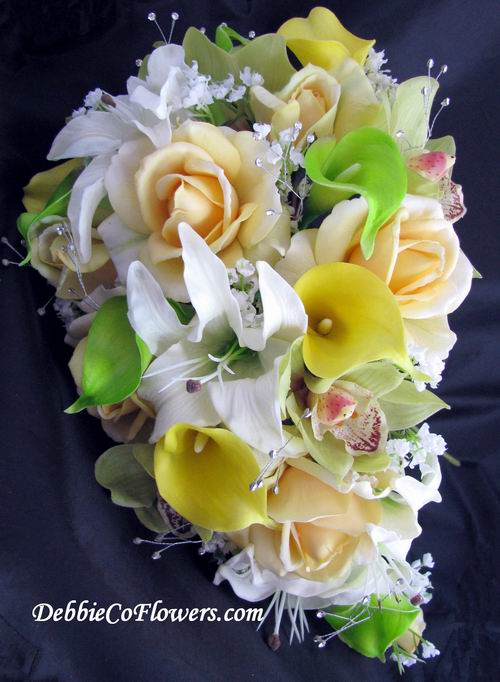 lily cascade wedding bouquets photo - 1