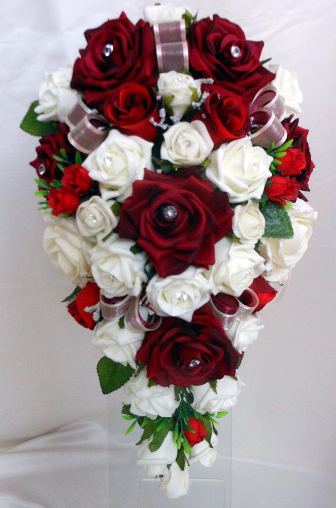maroon wedding bouquets photo - 1