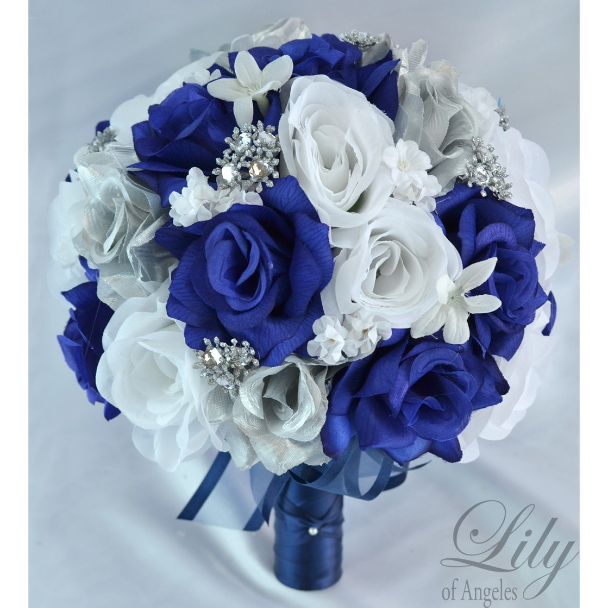 17 piece Wedding Flowers Bridal silk Bouquet LIGHT BLUE WHITE SILVER Package