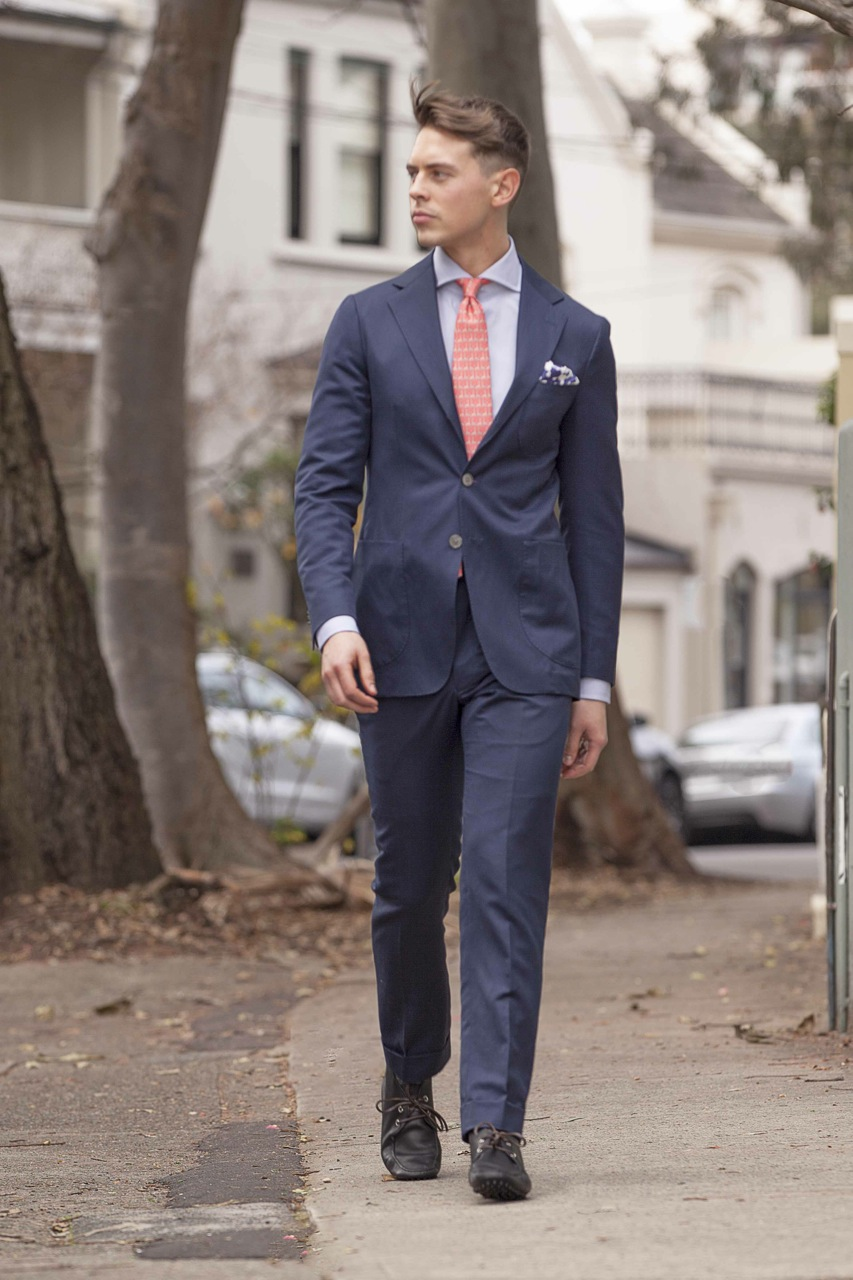 navy blue suit brown shoes wedding photo - 1
