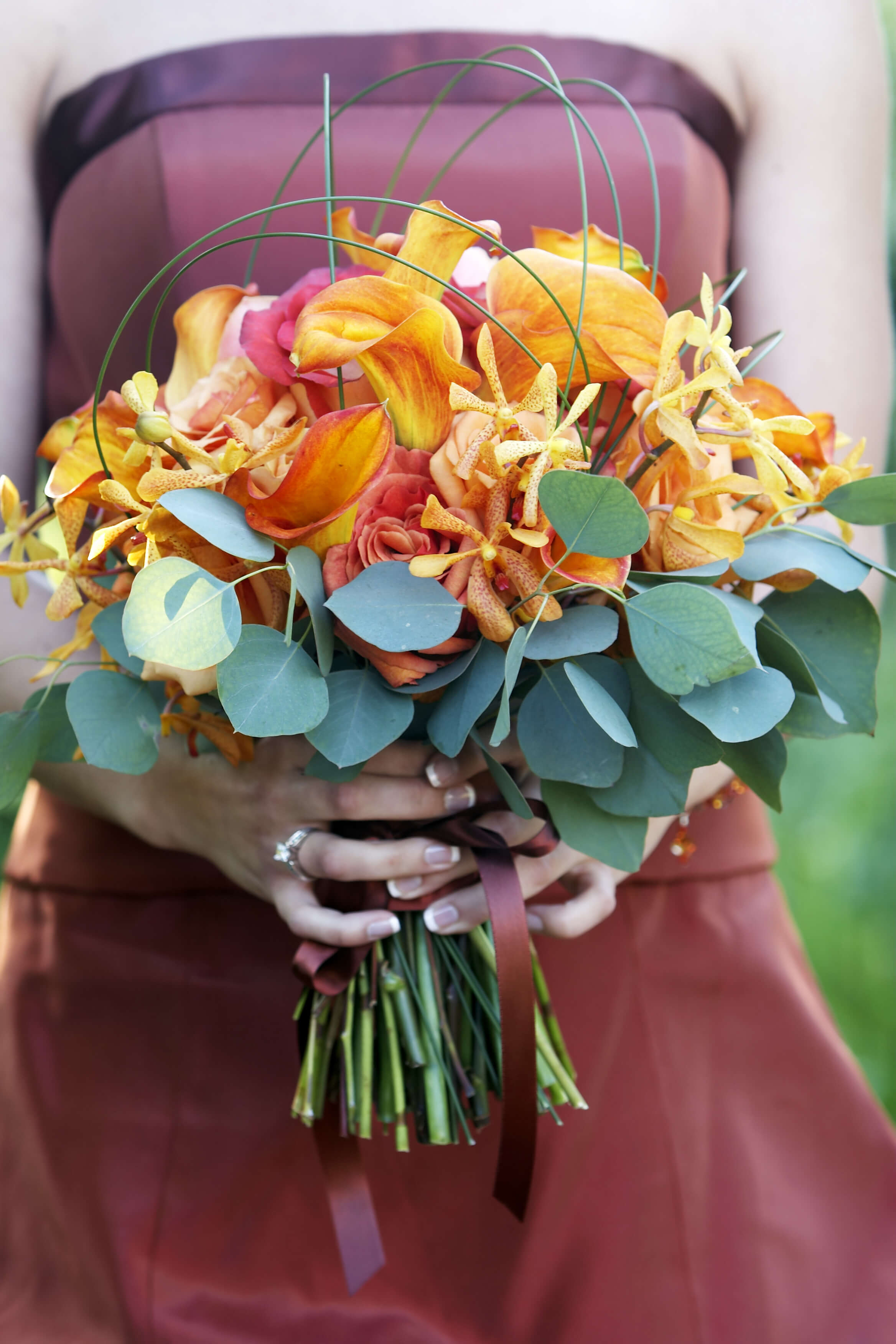 orange wedding flowers photo - 1