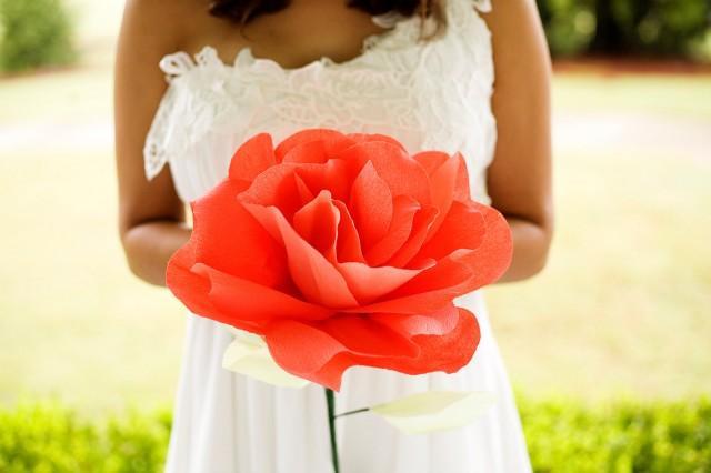paper flower wedding bouquet photo - 1