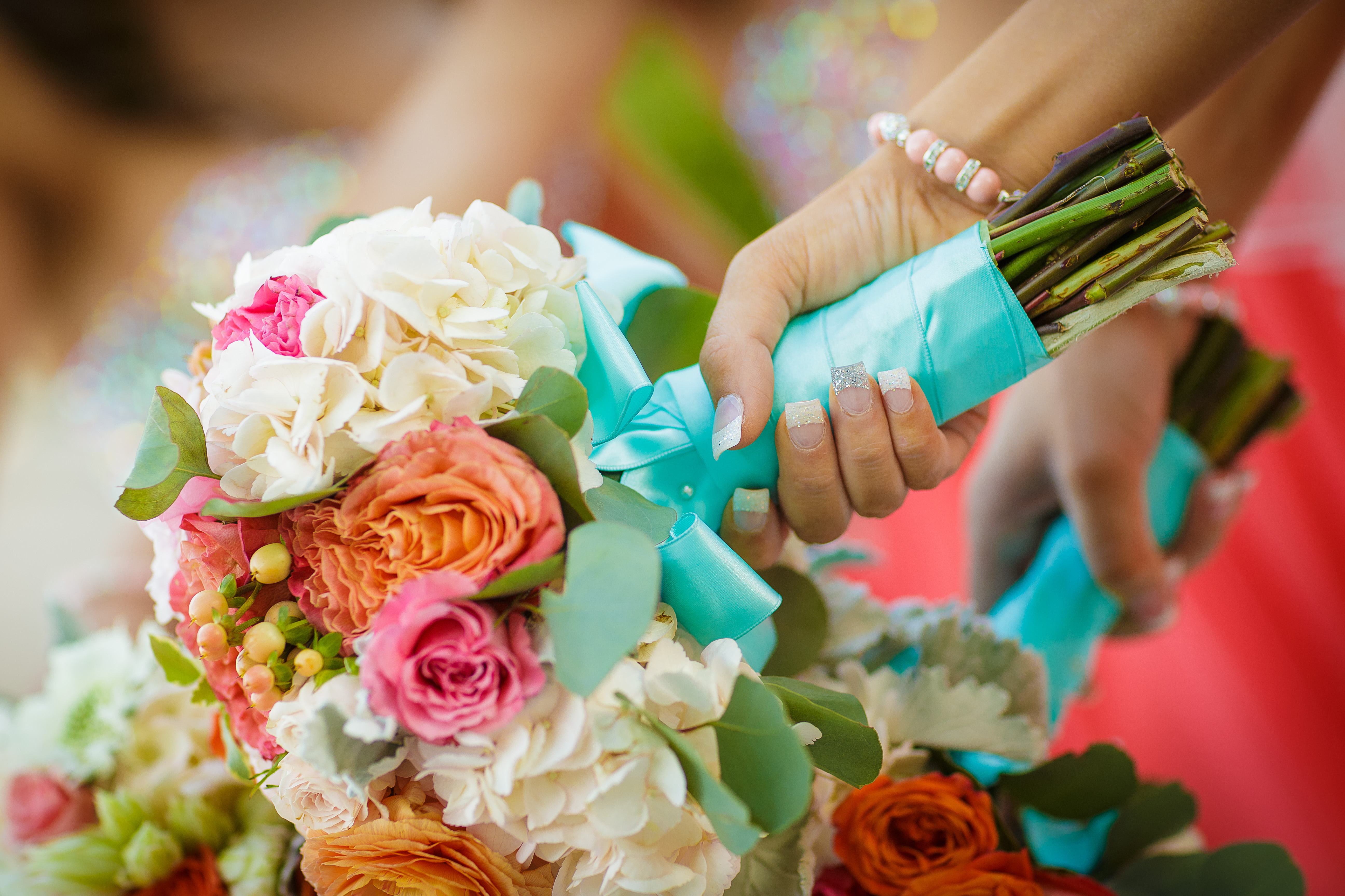peach and coral wedding bouquets photo - 1