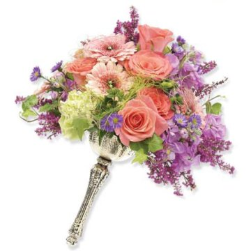 peach and purple wedding bouquets photo - 1