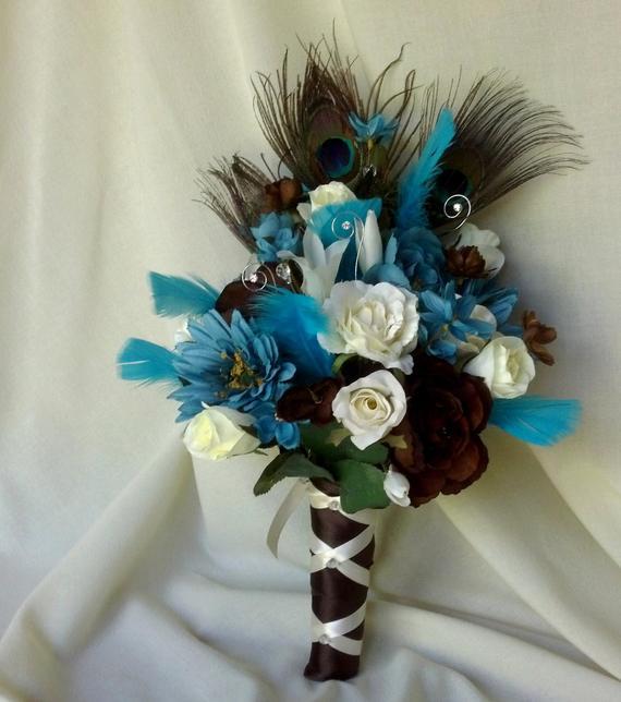 peacock wedding bouquet photo - 1