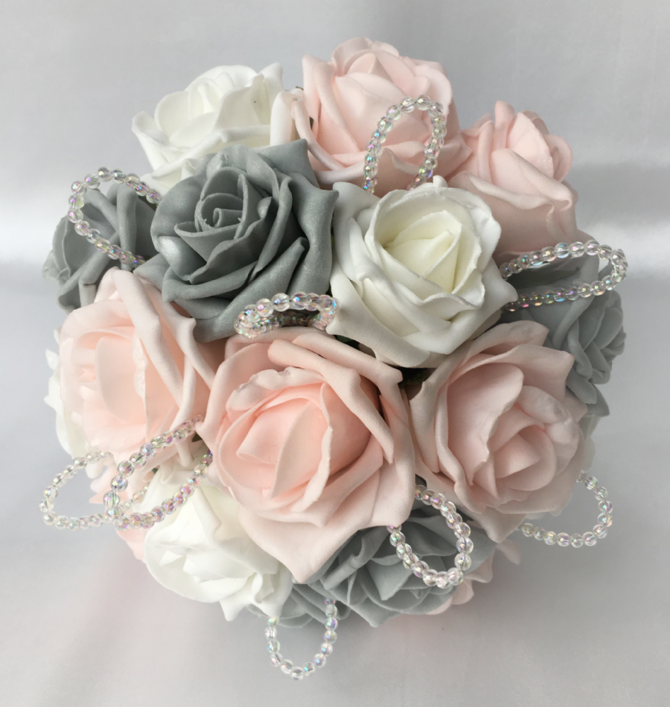 pink and grey wedding bouquets photo - 1
