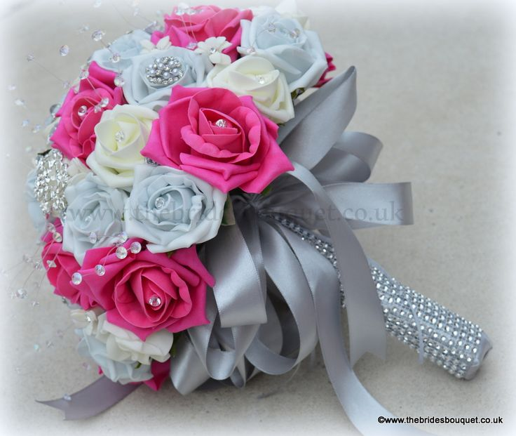 pink and silver wedding bouquets photo - 1