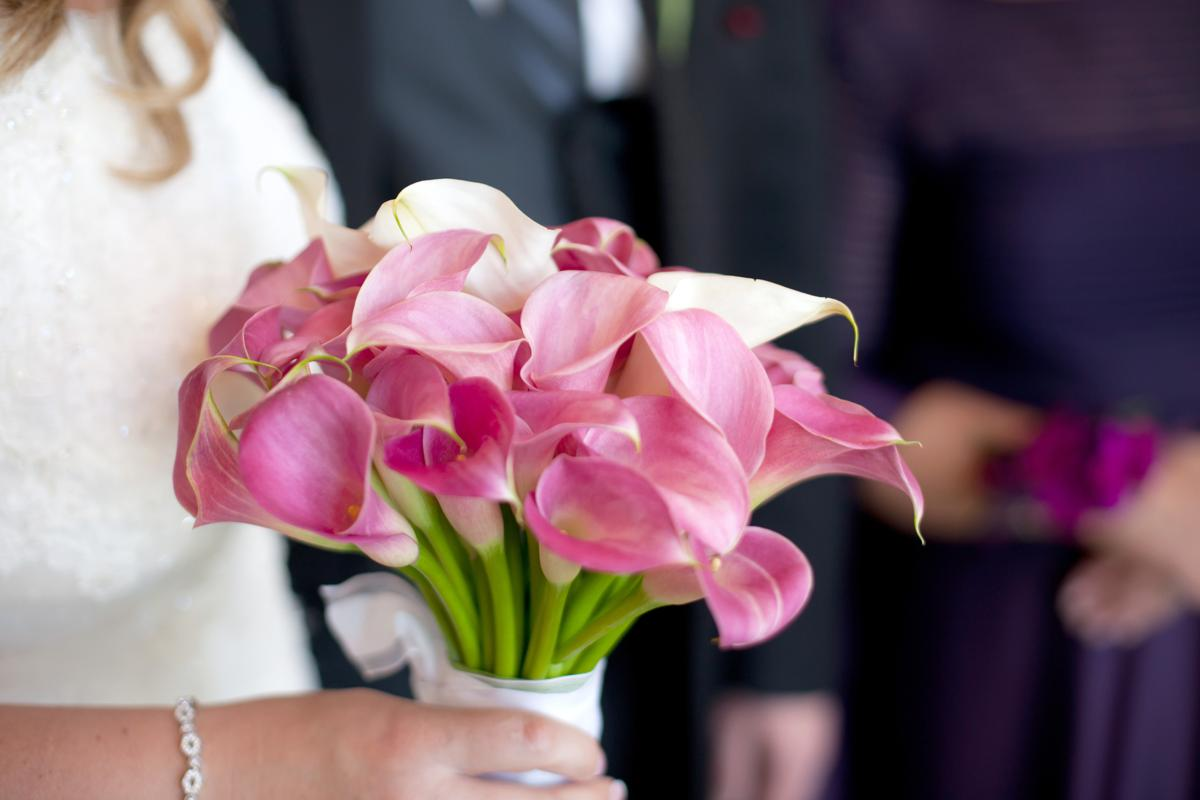 pink calla lilies wedding bouquets photo - 1