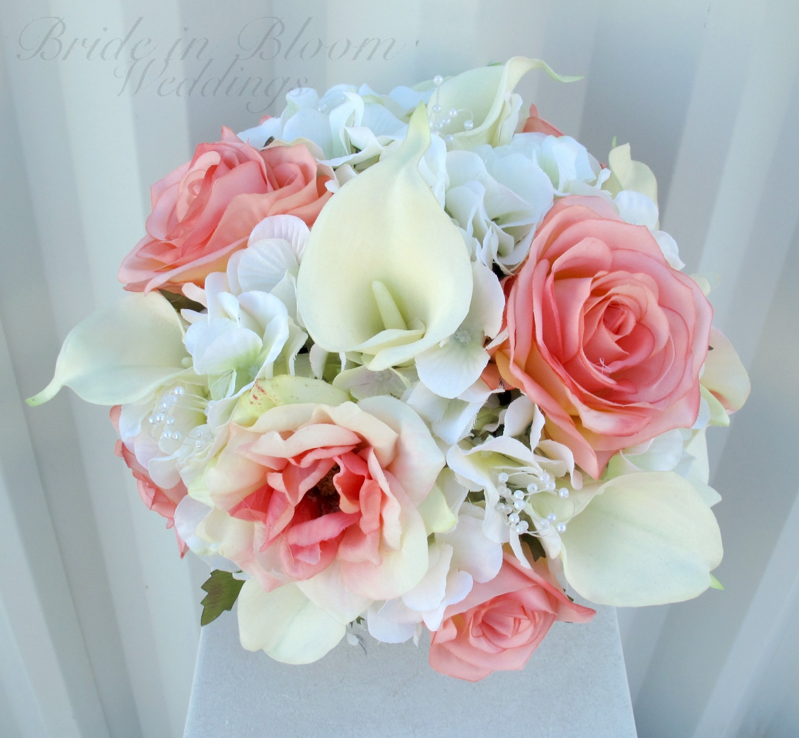pink calla lily wedding bouquets photo - 1