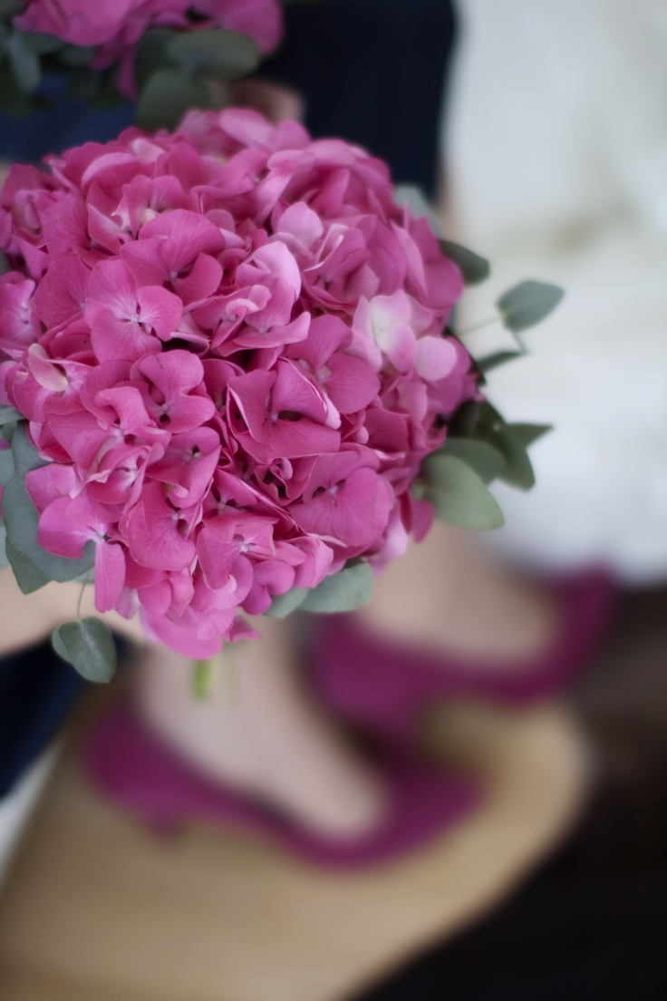 pink hydrangea wedding bouquets photo - 1