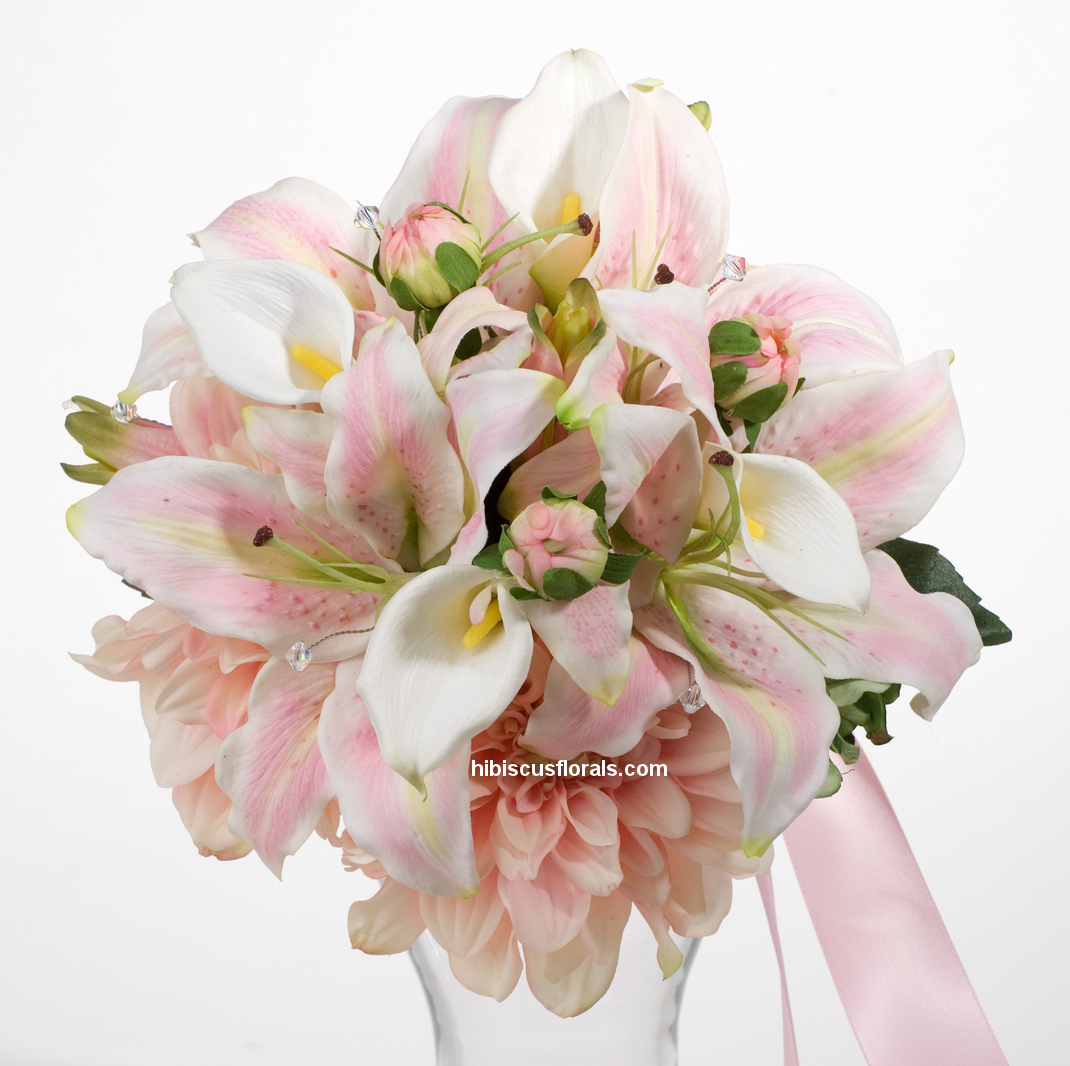 pink lily wedding bouquets photo - 1