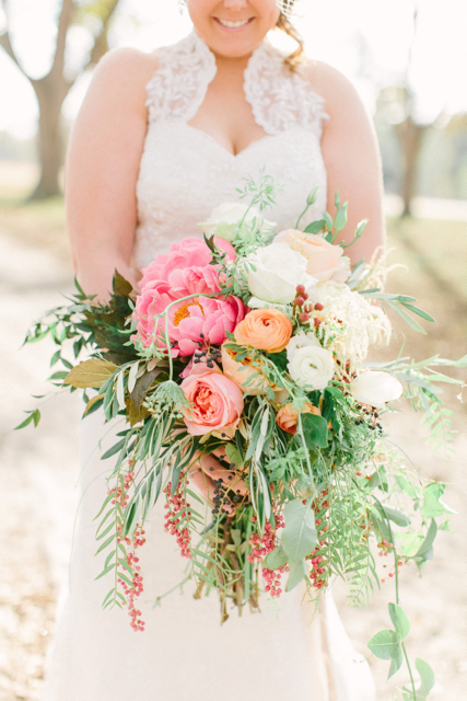 pink peony wedding bouquets photo - 1