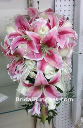 pink tiger lily wedding bouquets photo - 1