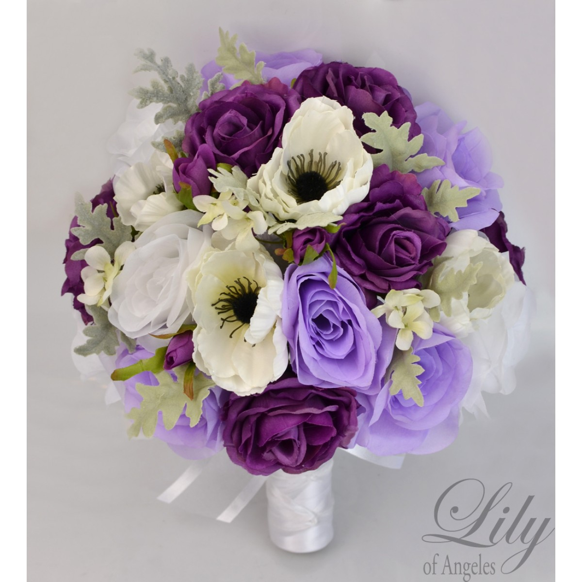 plum and ivory wedding bouquets photo - 1