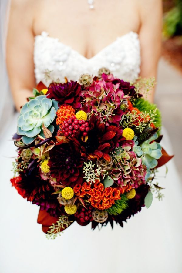plum and orange wedding bouquets photo - 1