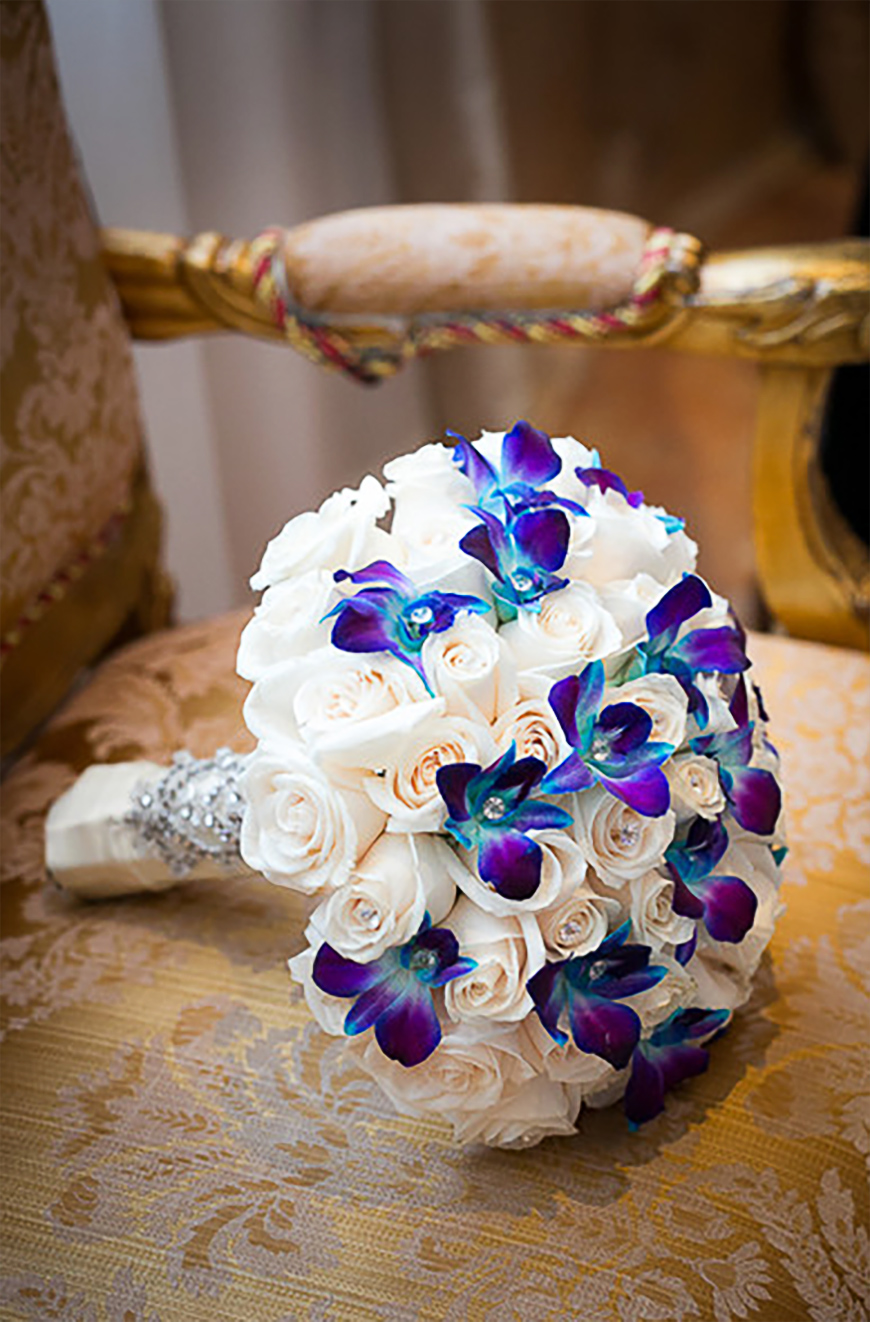 purple and blue wedding flowers photo - 1