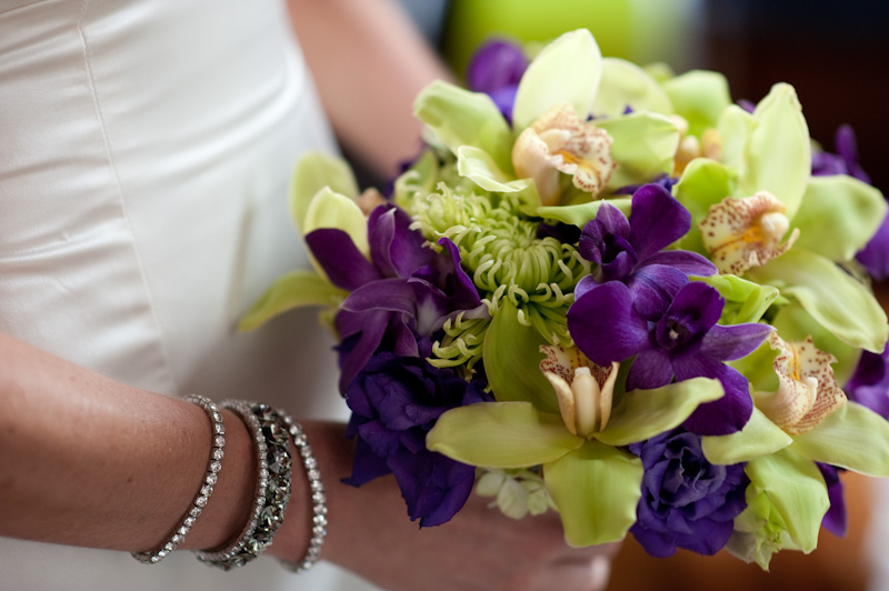 purple and green wedding bouquets photo - 1