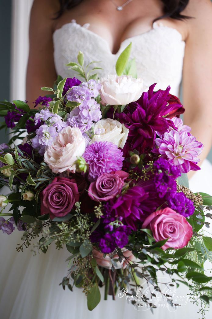 purple and pink wedding bouquets photo - 1