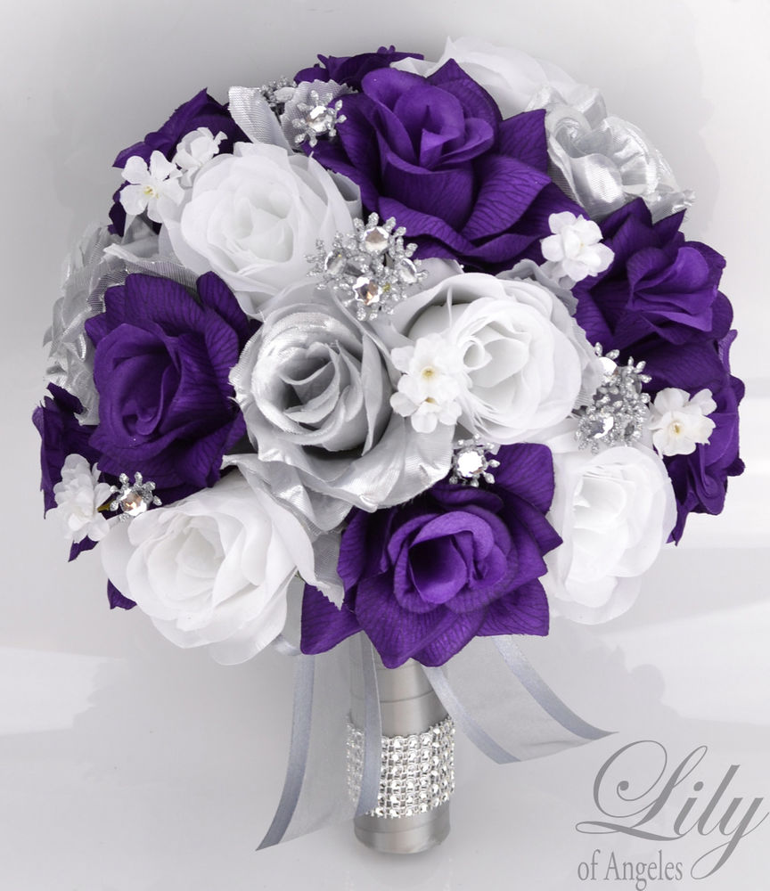 purple and silver wedding bouquets photo - 1