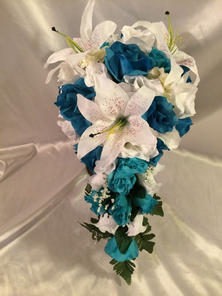 purple and turquoise wedding bouquets photo - 1