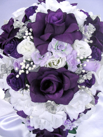 purple and white wedding bouquets photo - 1