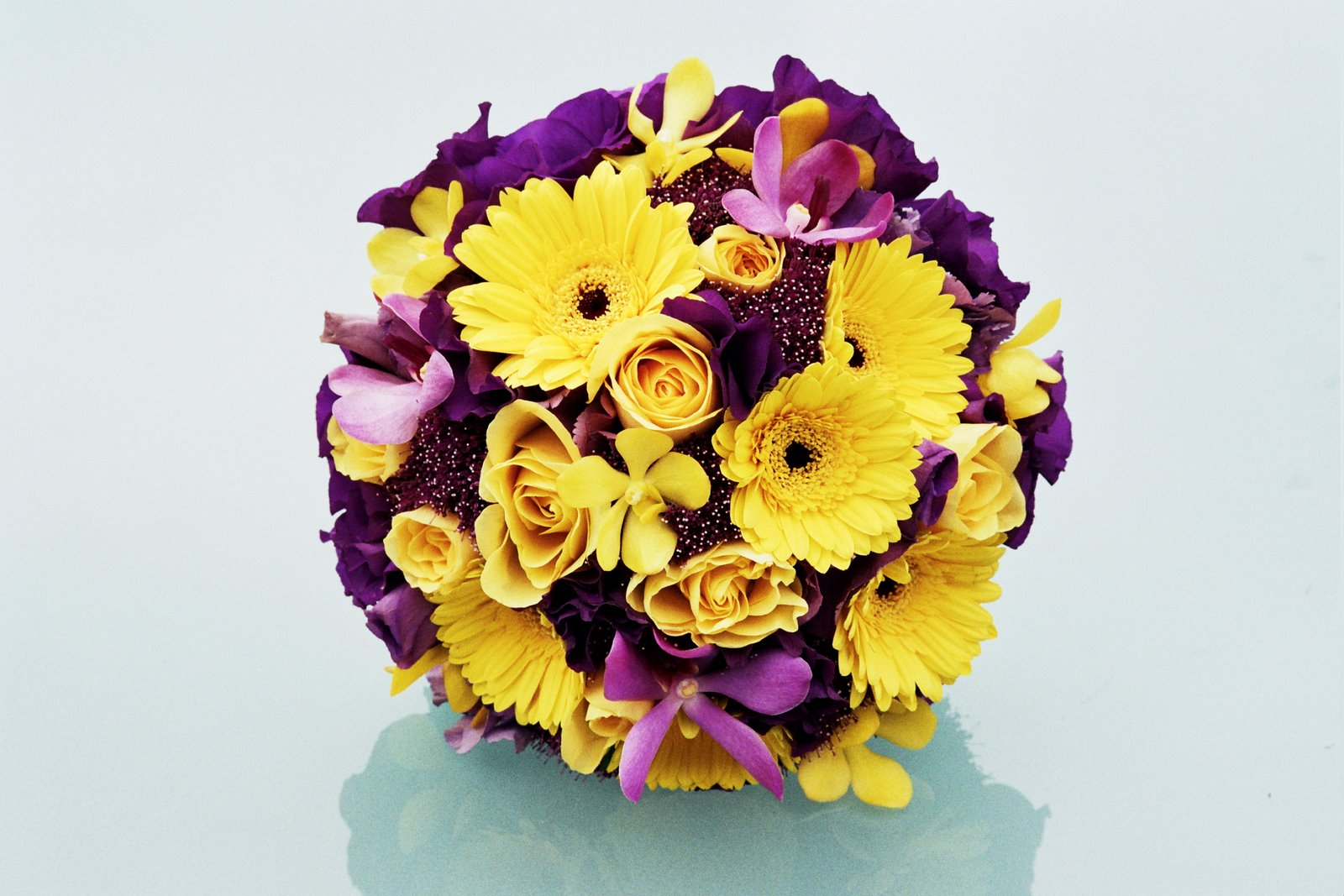 purple and yellow wedding bouquets photo - 1