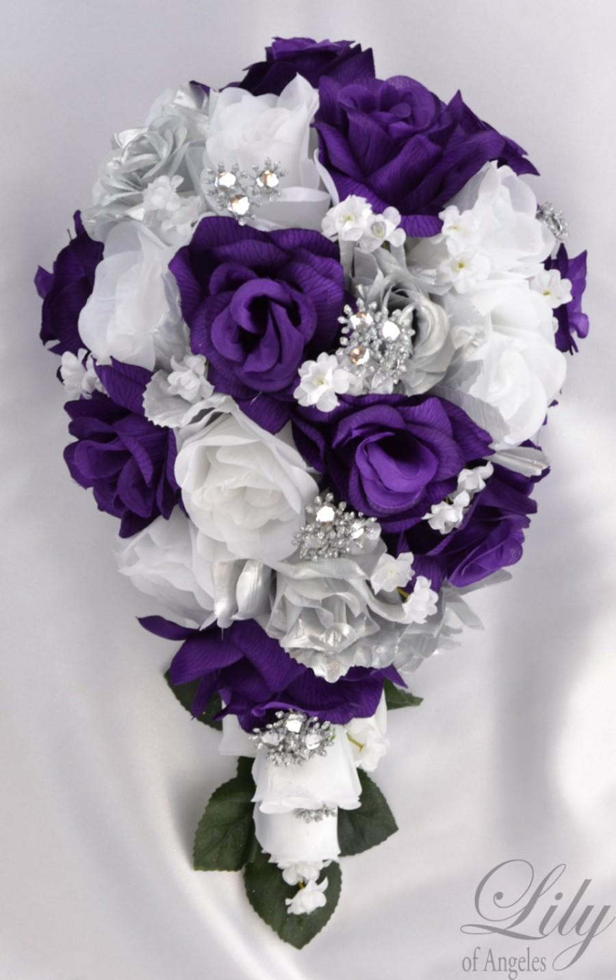 purple cascade wedding bouquets photo - 1