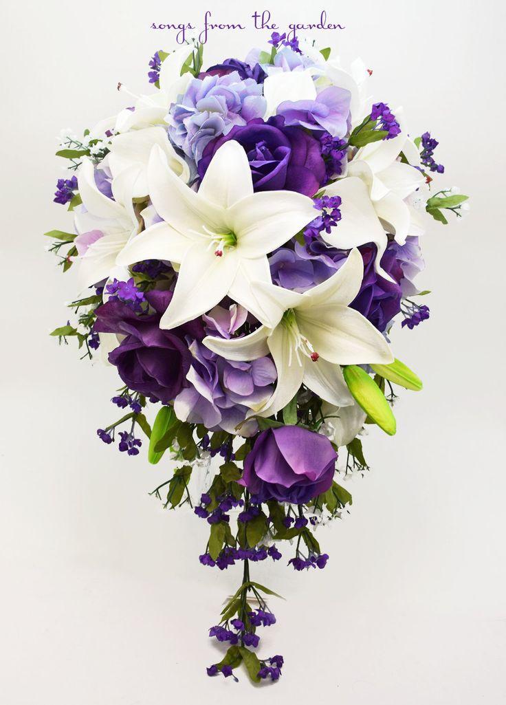 purple cascading wedding bouquets photo - 1
