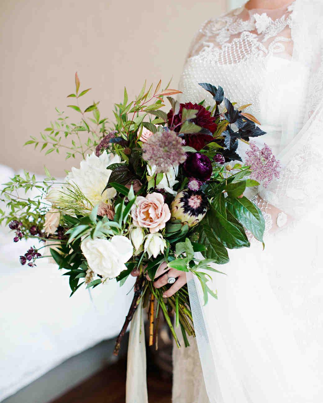 purple fall wedding bouquets photo - 1