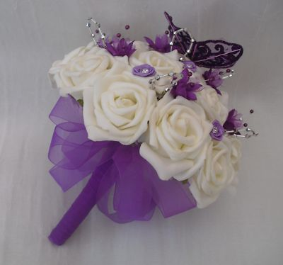 purple roses wedding bouquets photo - 1