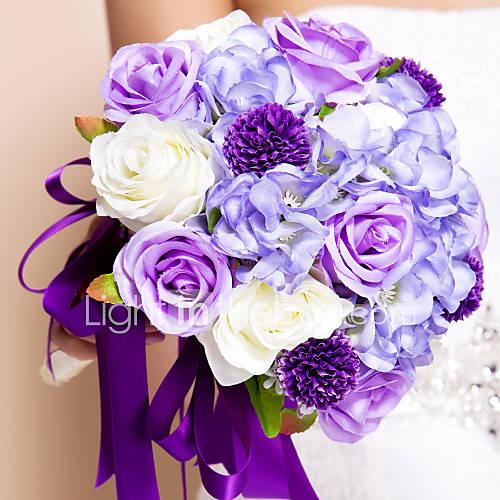purple silk flowers wedding bouquets photo - 1