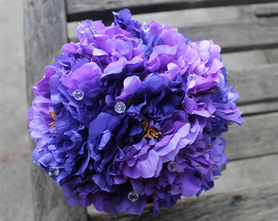 purple wedding bouquets silk photo - 1