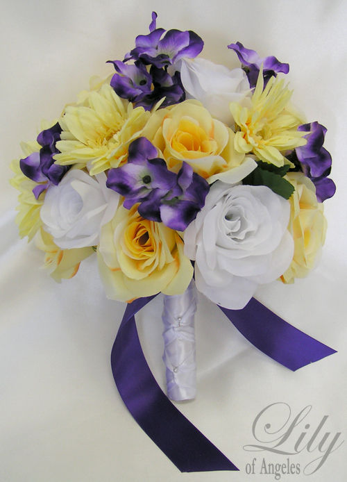 purple wedding flowers bouquets photo - 1