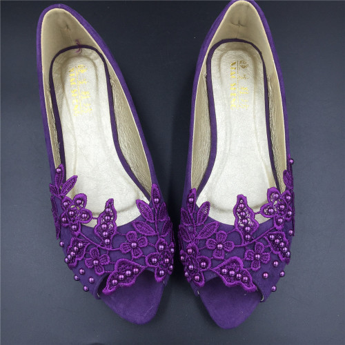 purple wedding shoes flats photo - 1