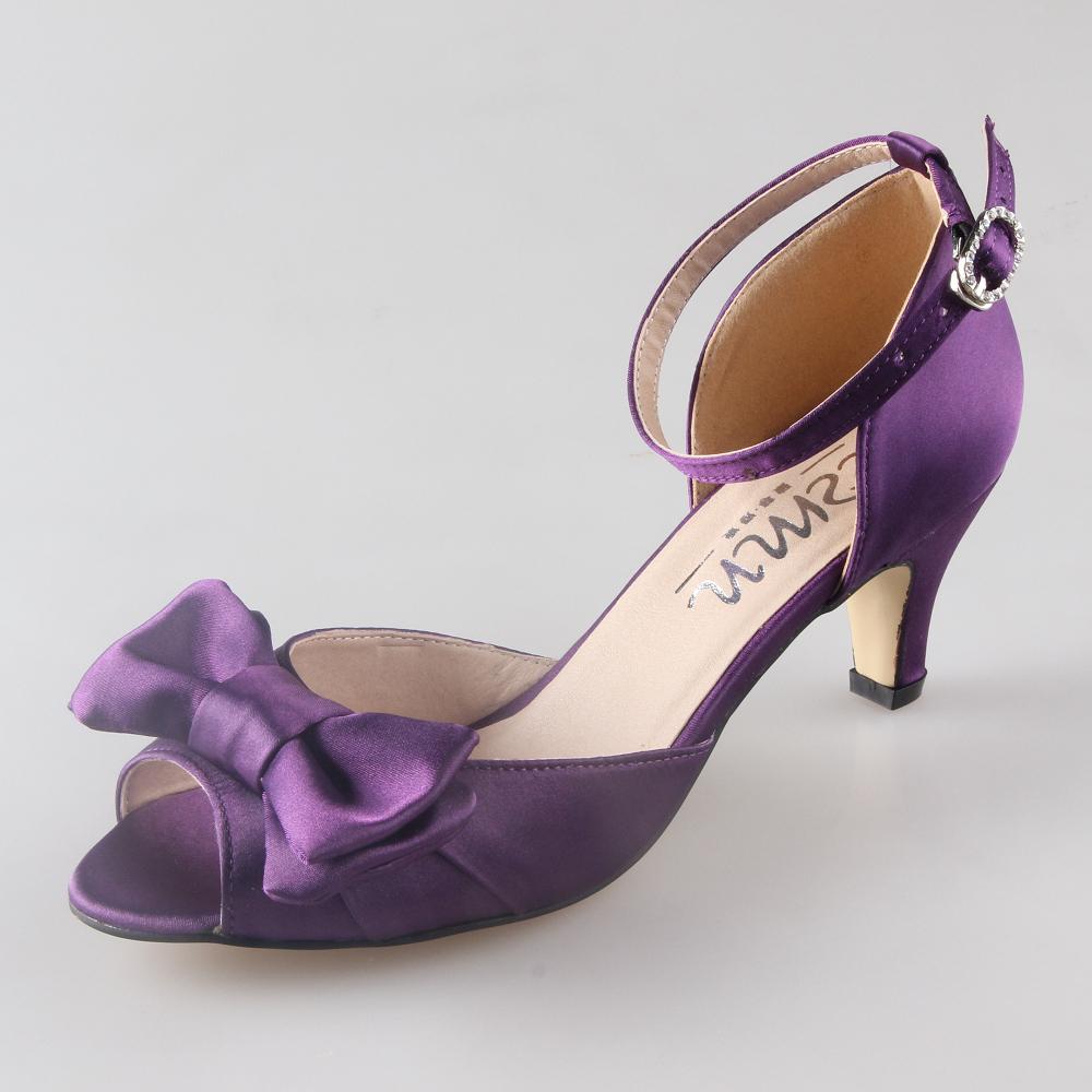 purple wedding shoes low heel photo - 1