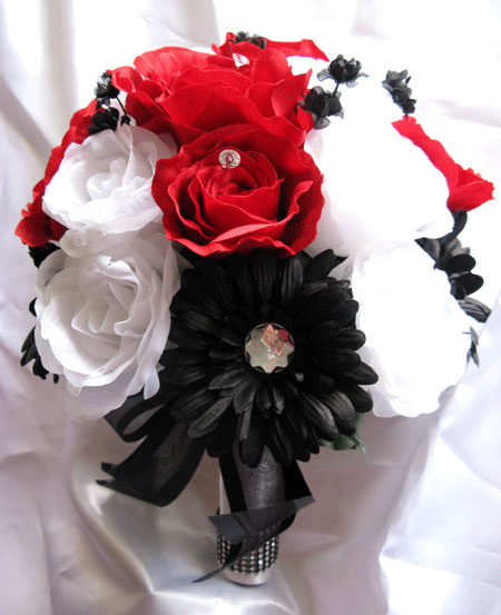 red and black wedding bouquets photo - 1