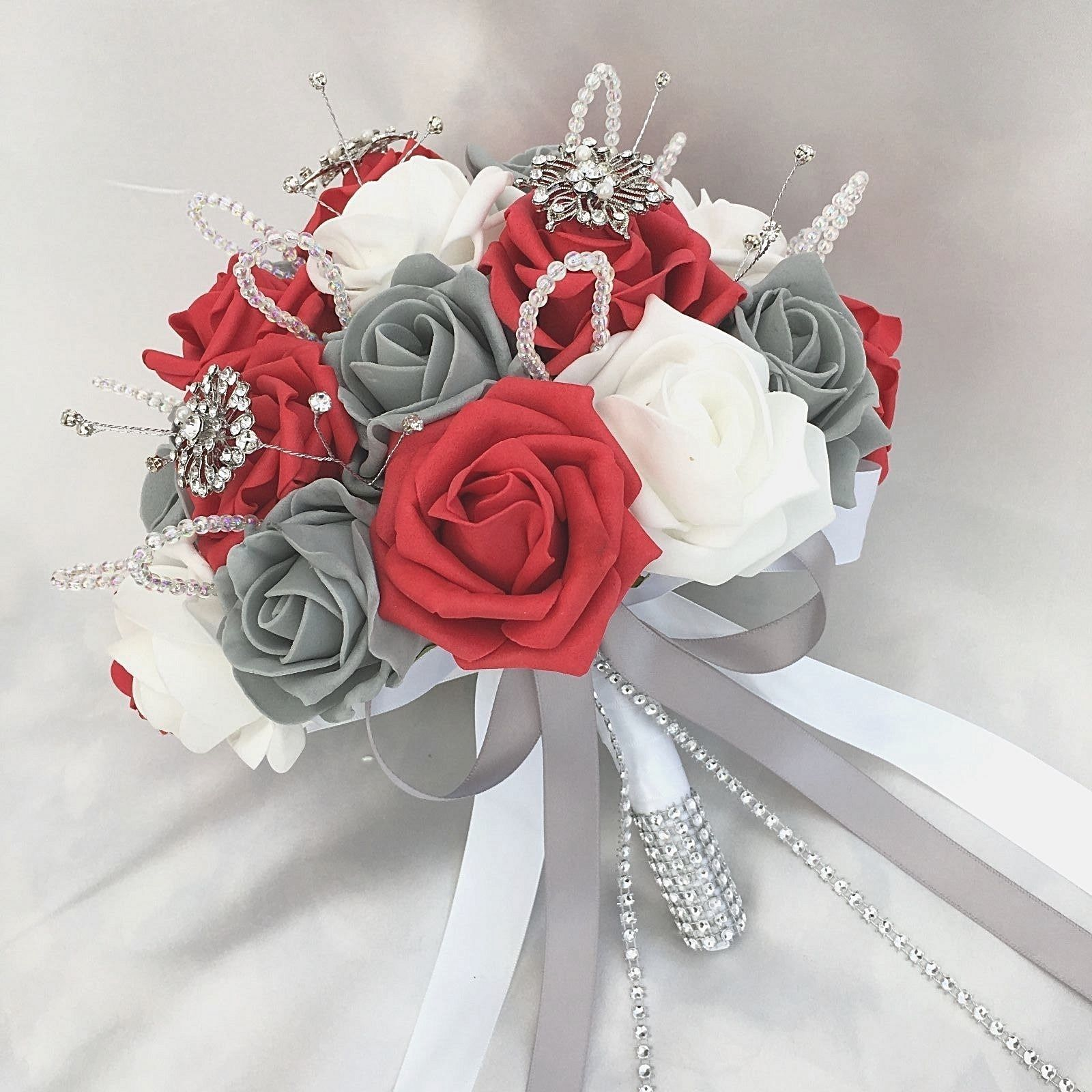 red and gray wedding bouquets photo - 1