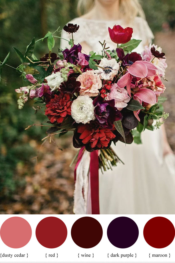 red and purple wedding bouquets photo - 1