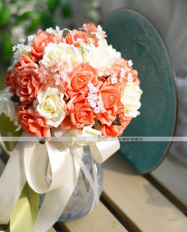red and white rose wedding bouquets photo - 1