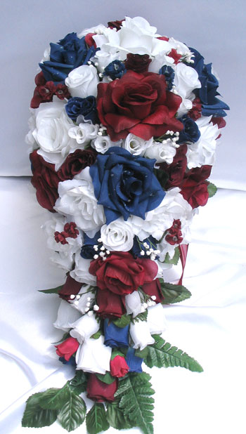 red and white roses wedding bouquets photo - 1