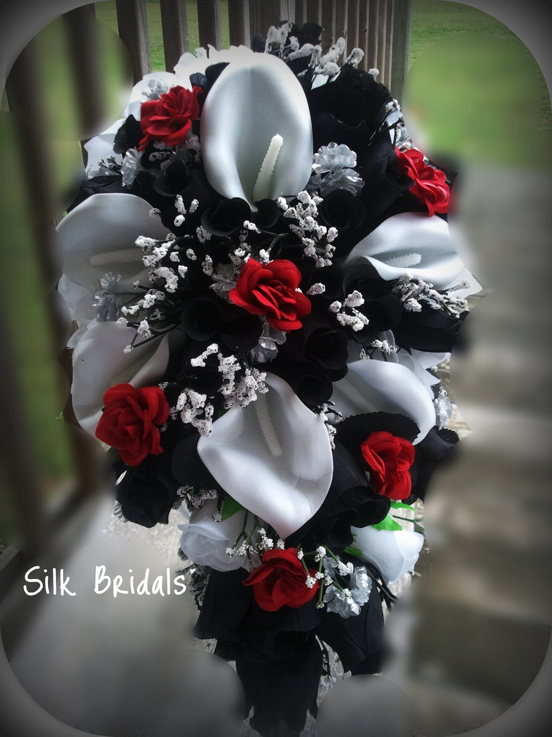 red black and silver wedding bouquets photo - 1