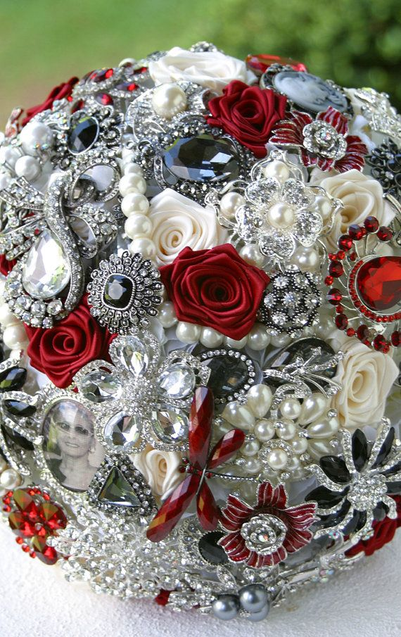red black and white wedding bouquets photo - 1