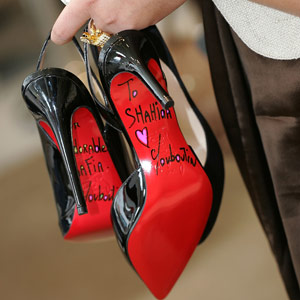 red bottom bridal shoes photo - 1